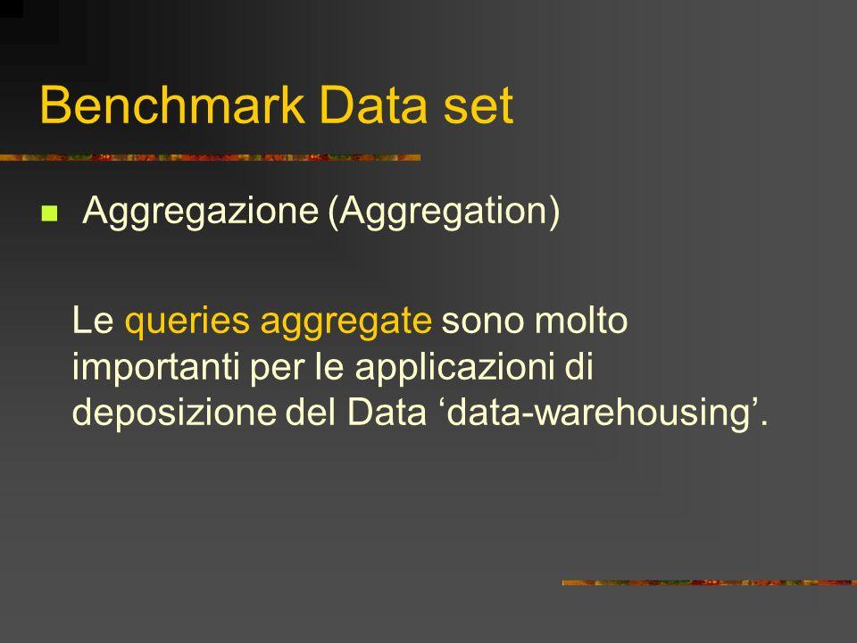 Benchmark Data set Aggregazione (Aggregation) Le queries aggregate sono molto importanti per le applicazioni di deposizione del Data data-warehousing.
