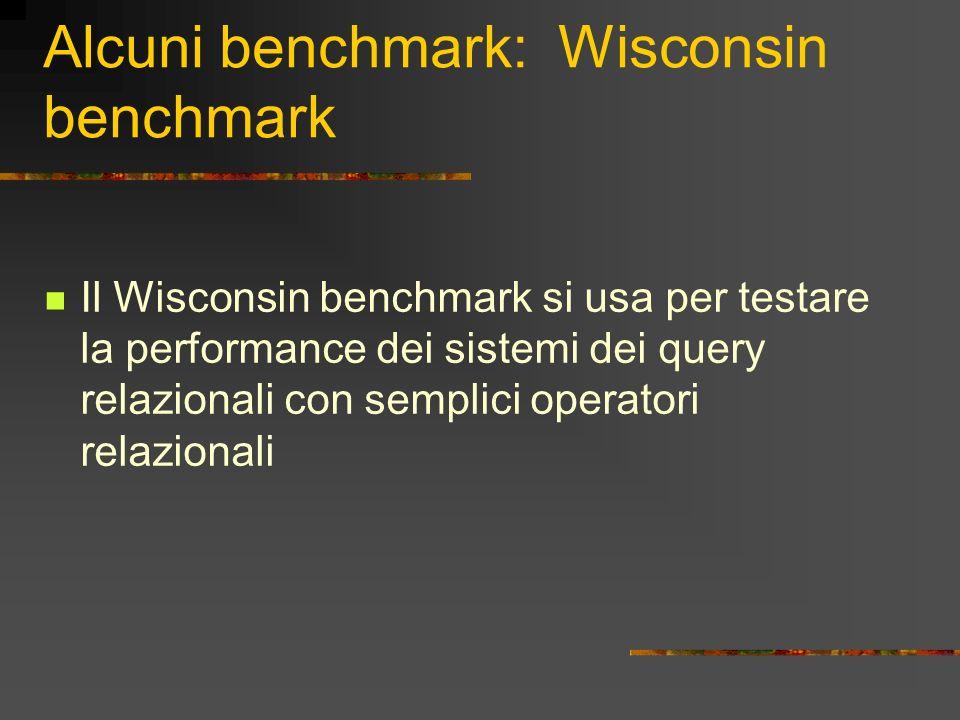 Alcuni benchmark: Il AS3AP Il AS3AP benchmark provvede ad una valutazione più completa dei sistemi di database relazionali incorporando delle caratteristiche come: testare funzioni utili, mucchio misto, query interattive e test multiutenti
