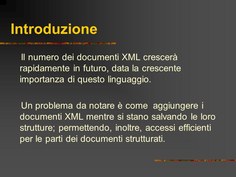 Introduzione Il numero dei documenti XML crescerà rapidamente in futuro, data la crescente importanza di questo linguaggio. Un problema da notare è co
