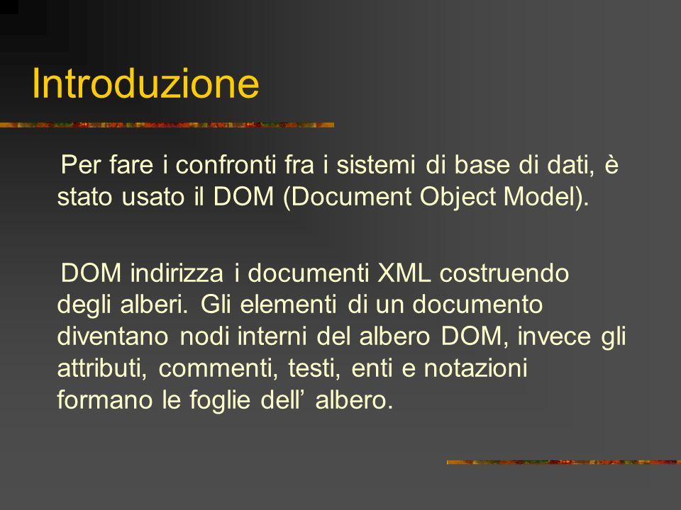 Introduzione Per fare i confronti fra i sistemi di base di dati, è stato usato il DOM (Document Object Model). DOM indirizza i documenti XML costruend