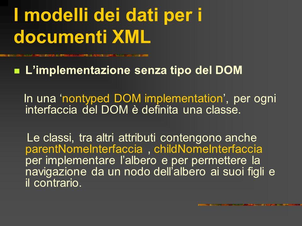 I modelli dei dati per i documenti XML Limplementazione senza tipo del DOM In una nontyped DOM implementation, per ogni interfaccia del DOM è definita