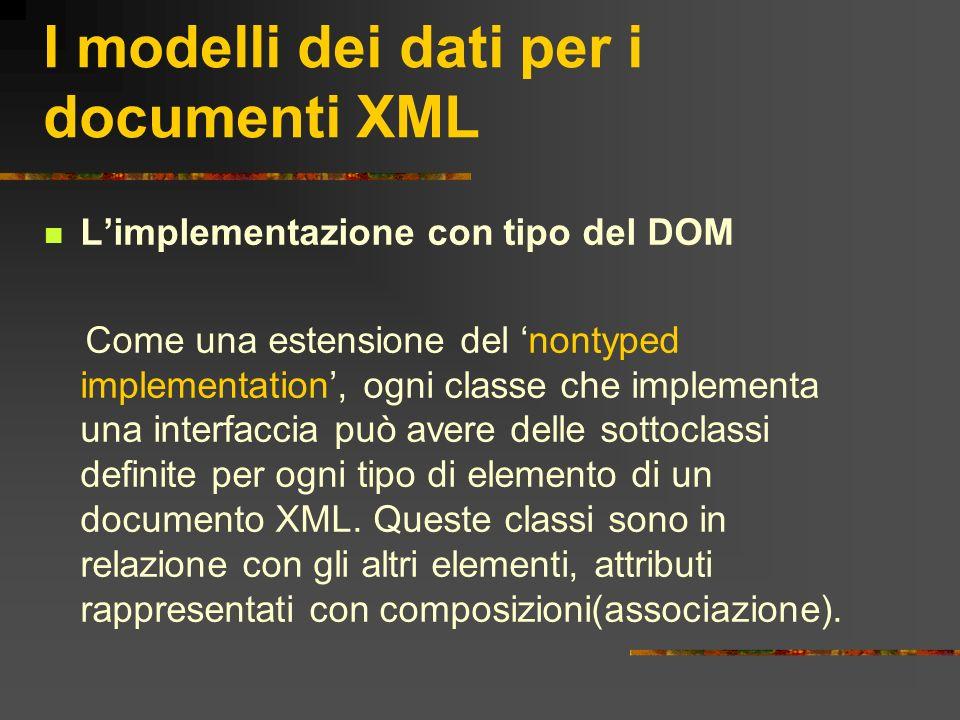 I modelli dei dati per i documenti XML Limplementazione con tipo del DOM Come una estensione del nontyped implementation, ogni classe che implementa u