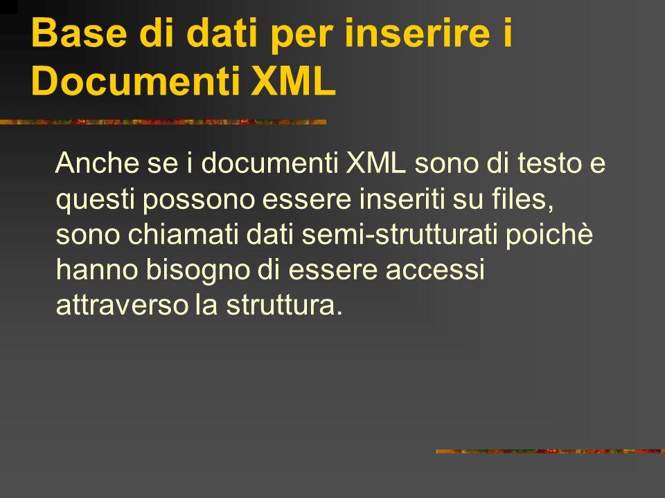 Base di dati per inserire i Documenti XML Anche se i documenti XML sono di testo e questi possono essere inseriti su files, sono chiamati dati semi-st