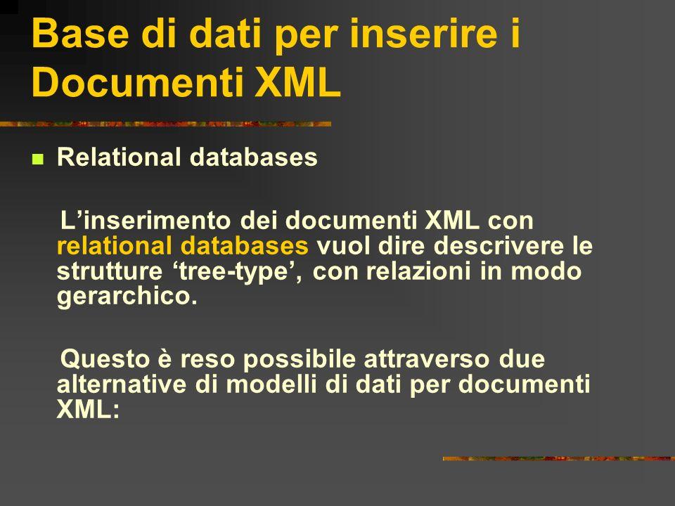 Base di dati per inserire i Documenti XML Relational databases Linserimento dei documenti XML con relational databases vuol dire descrivere le struttu