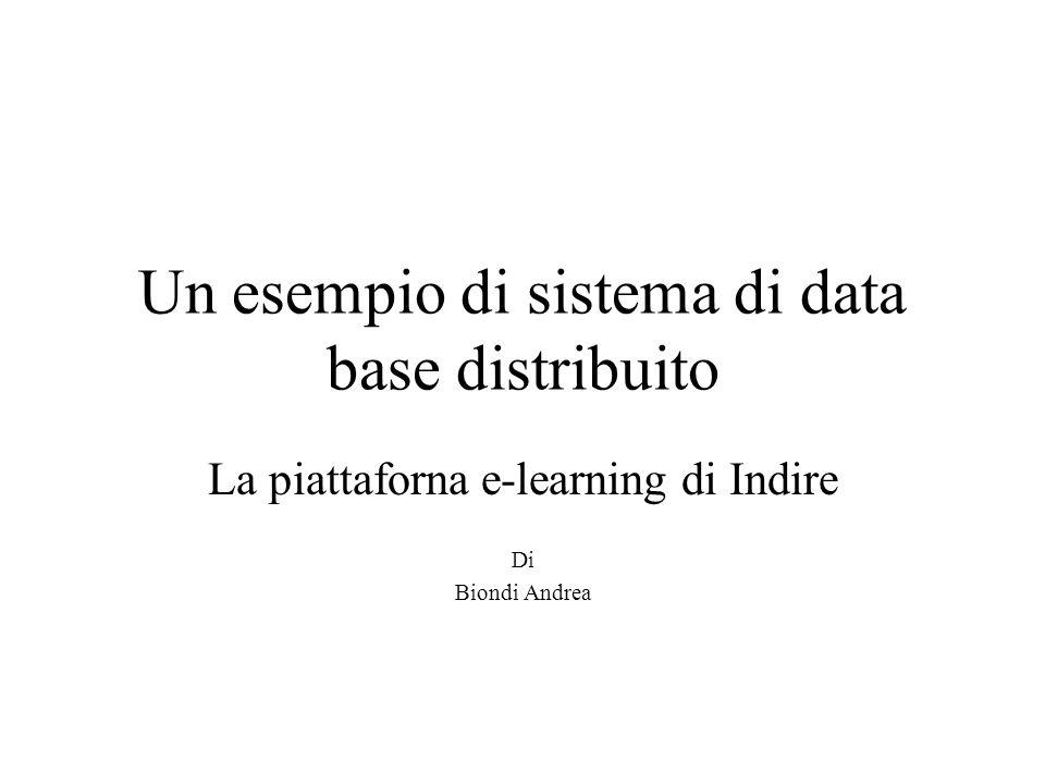 Un esempio di sistema di data base distribuito La piattaforna e-learning di Indire Di Biondi Andrea