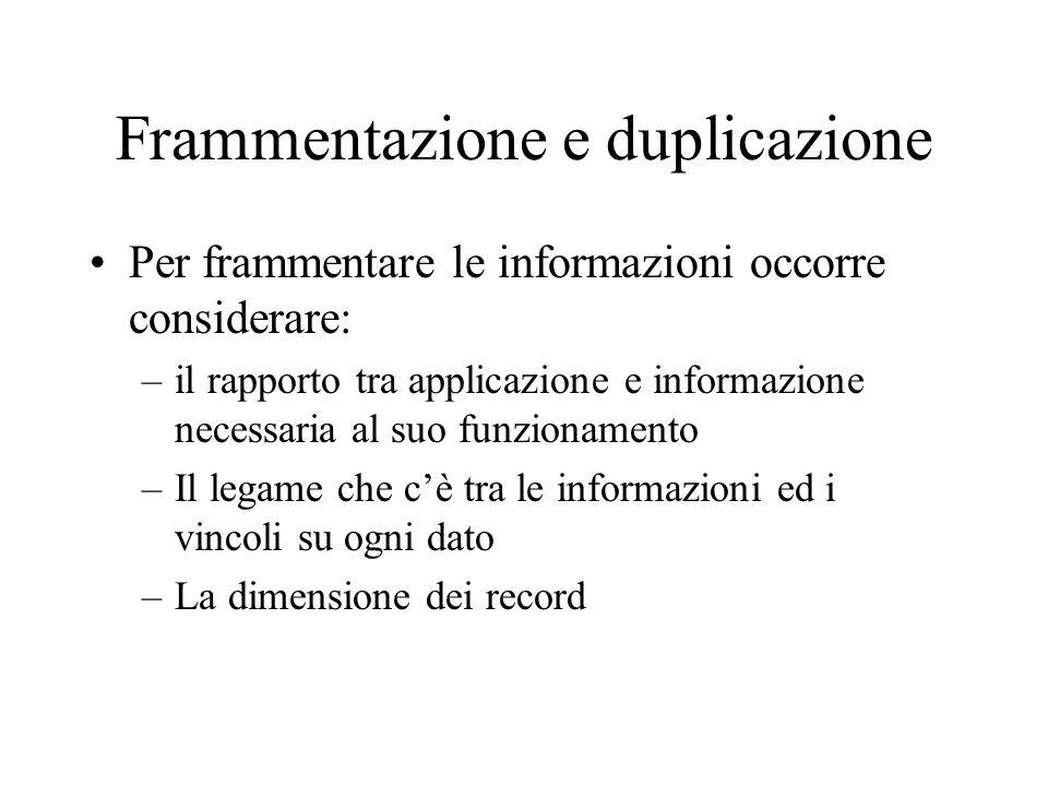 Frammentazione e duplicazione Per frammentare le informazioni occorre considerare: –il rapporto tra applicazione e informazione necessaria al suo funzionamento –Il legame che cè tra le informazioni ed i vincoli su ogni dato –La dimensione dei record