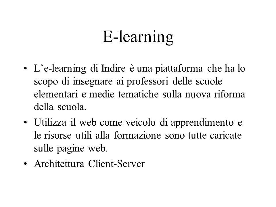 E-learning Le-learning di Indire è una piattaforma che ha lo scopo di insegnare ai professori delle scuole elementari e medie tematiche sulla nuova riforma della scuola.