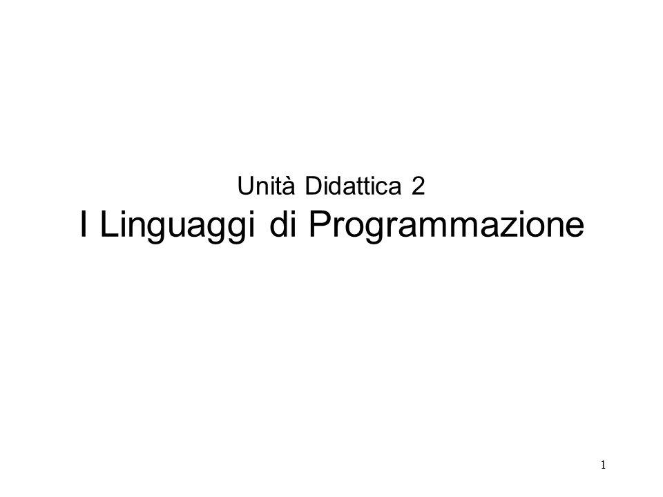 1 Unità Didattica 2 I Linguaggi di Programmazione
