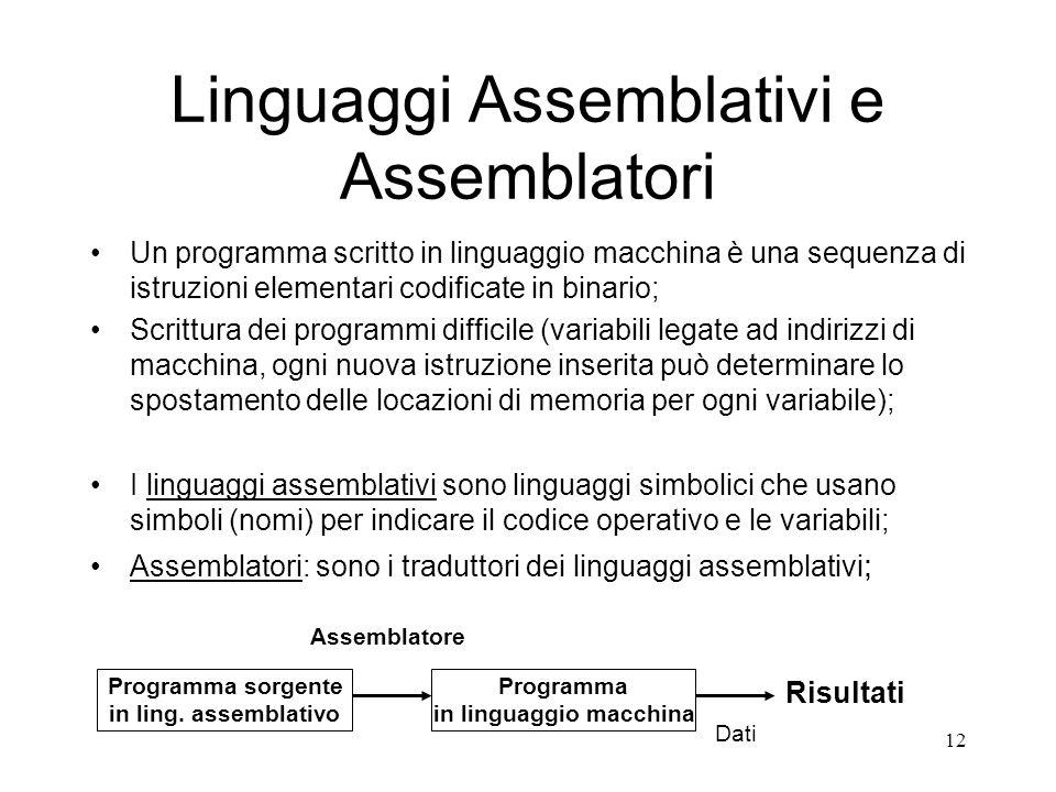 12 Linguaggi Assemblativi e Assemblatori Un programma scritto in linguaggio macchina è una sequenza di istruzioni elementari codificate in binario; Sc