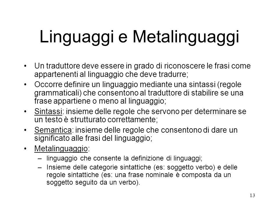 13 Linguaggi e Metalinguaggi Un traduttore deve essere in grado di riconoscere le frasi come appartenenti al linguaggio che deve tradurre; Occorre def