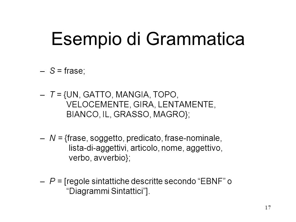 17 Esempio di Grammatica –S = frase; –T = {UN, GATTO, MANGIA, TOPO, VELOCEMENTE, GIRA, LENTAMENTE, BIANCO, IL, GRASSO, MAGRO}; –N = {frase, soggetto,