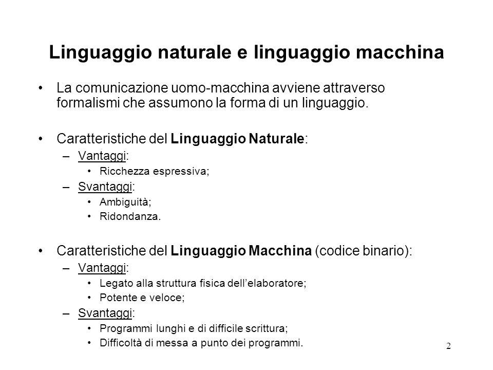 2 Linguaggio naturale e linguaggio macchina La comunicazione uomo-macchina avviene attraverso formalismi che assumono la forma di un linguaggio. Carat