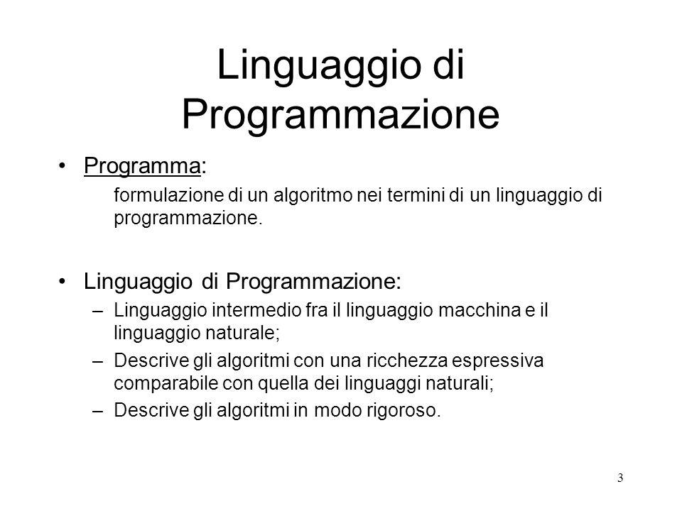 3 Linguaggio di Programmazione Programma: formulazione di un algoritmo nei termini di un linguaggio di programmazione. Linguaggio di Programmazione: –