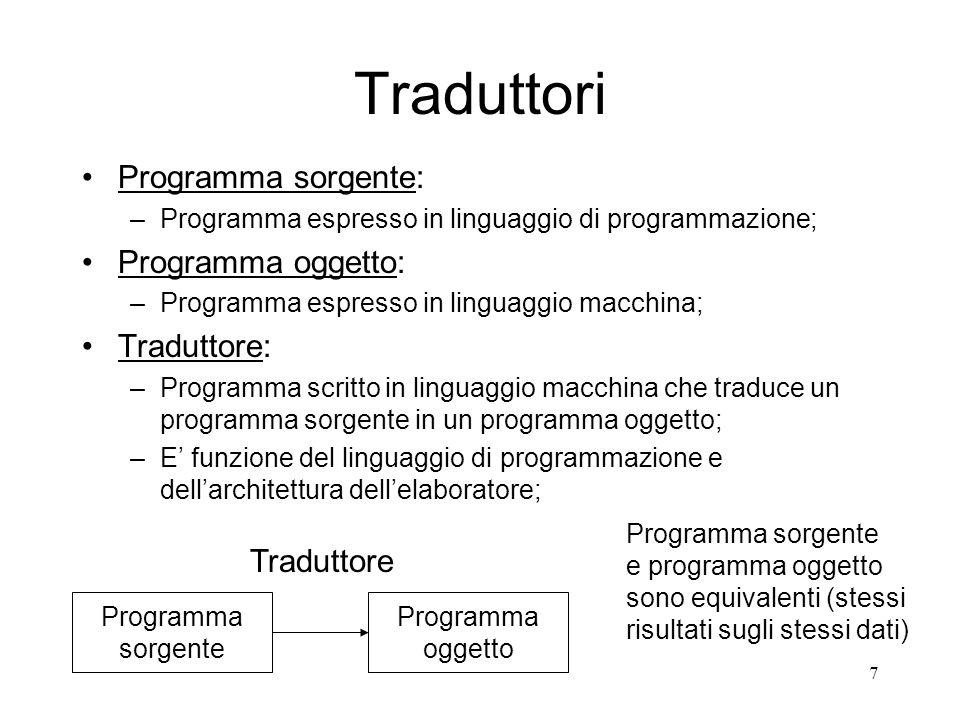 8 Tipi di Traduttori: Assemblatori, Compilatori e Interpreti Linguaggi ad alto livello (orientati alluomo) Linguaggi a basso livello (linguaggi assemblativi, orientati alla macchina) Linguaggio macchina Compilatori o Interpreti Assemblatori