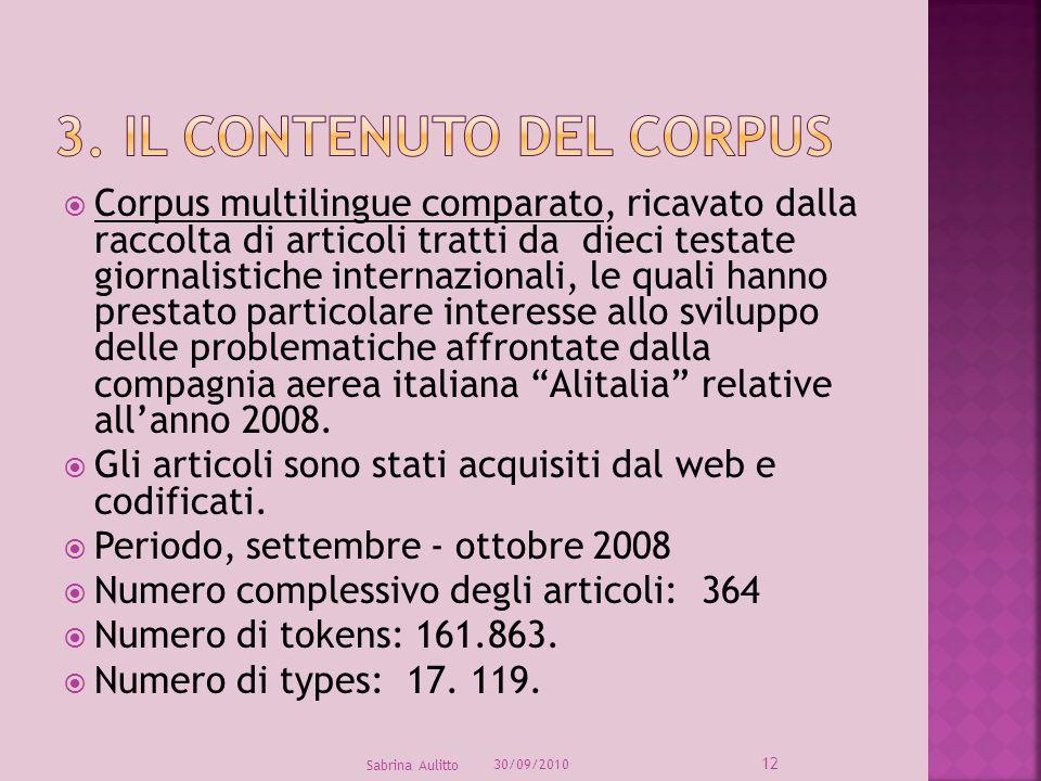 Corpus multilingue comparato, ricavato dalla raccolta di articoli tratti da dieci testate giornalistiche internazionali, le quali hanno prestato parti