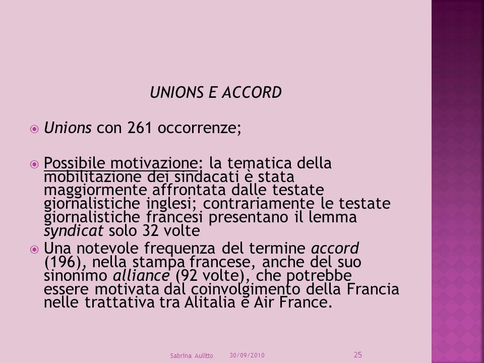 UNIONS E ACCORD Unions con 261 occorrenze; Possibile motivazione: la tematica della mobilitazione dei sindacati è stata maggiormente affrontata dalle