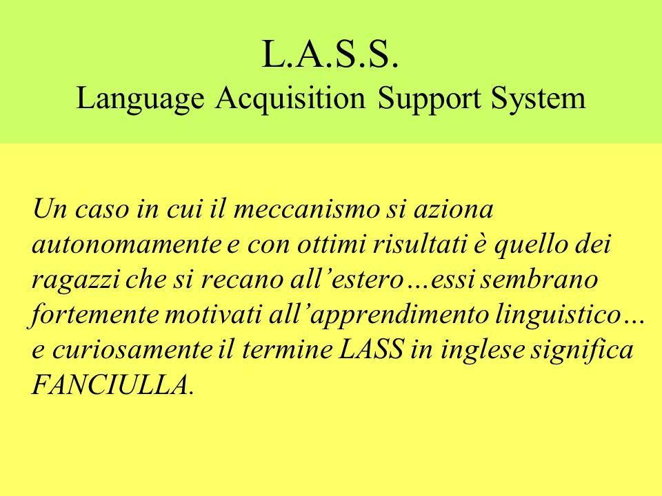 L.A.D. Language Acquisition Device (meccanismo di acquisizione linguistica) Chomsky ha ipotizzato lesistenza di un meccanismo che azionandosi consente