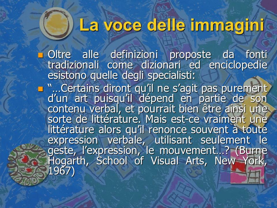 La voce delle immagini n La lingua della bande dessinée è un eterno conflitto tra la ricerca di un effetto (linguistico o di stile) ed il mantenimento di un livello standard che consenta la comprensione di un testo.