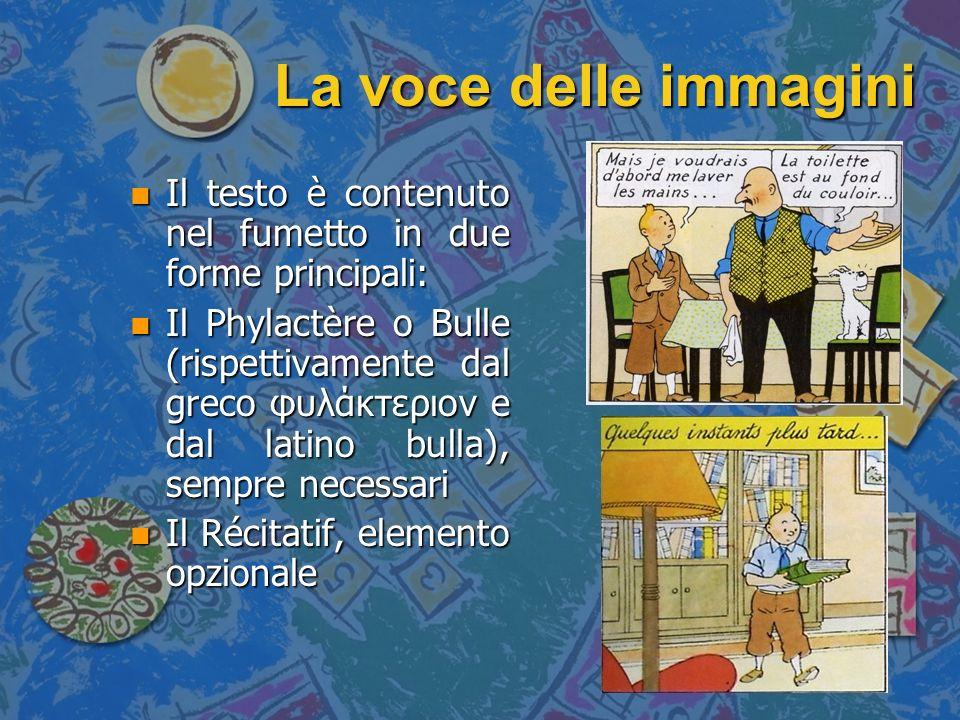 La voce delle immagini n Il testo entra a far parte del fumetto anche in una terza forma n Lideogramma ricomprende tutti quegli elementi funzionali allarrichimento espressivo (Bernard Toussaint, Idéographie et bande dessinée)