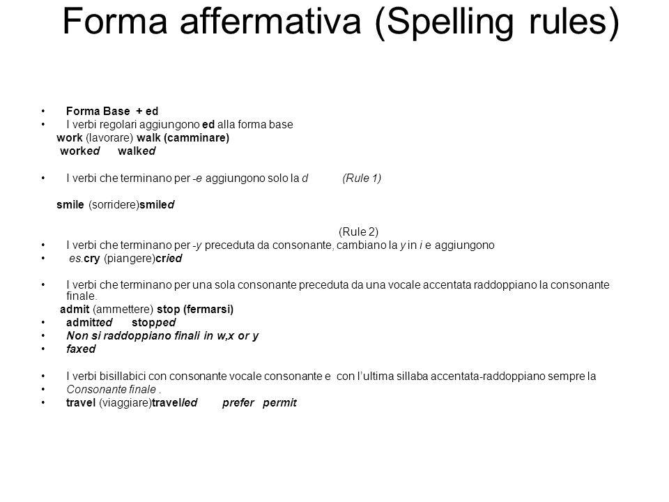 Forma affermativa (Spelling rules) Forma Base + ed I verbi regolari aggiungono ed alla forma base work (lavorare) walk (camminare) worked walked I ver