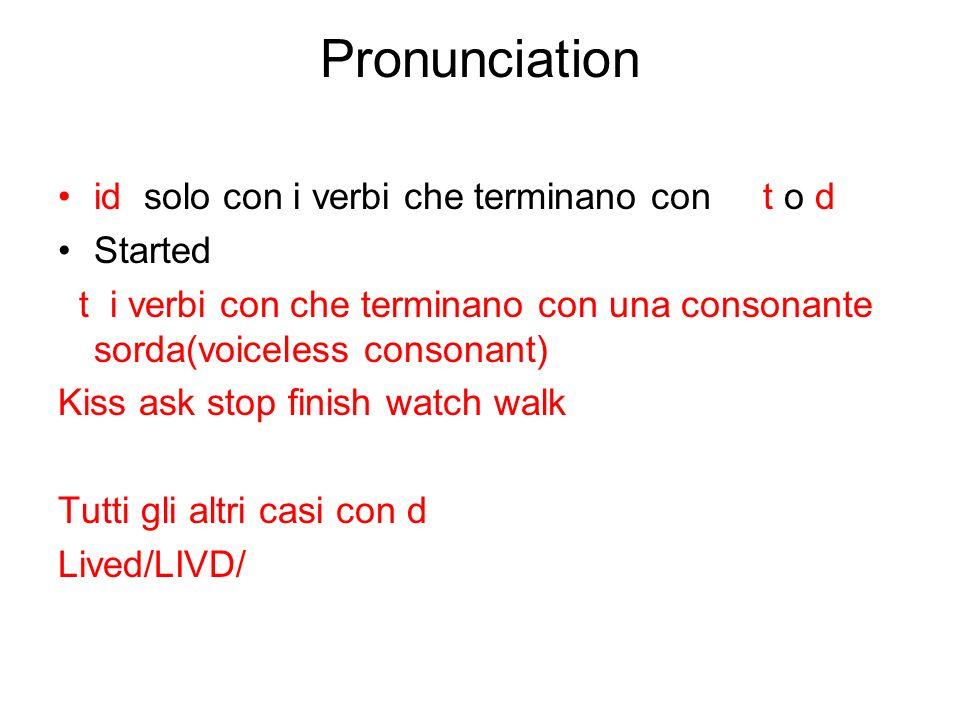 Pronunciation id solo con i verbi che terminano con t o d Started t i verbi con che terminano con una consonante sorda(voiceless consonant) Kiss ask s