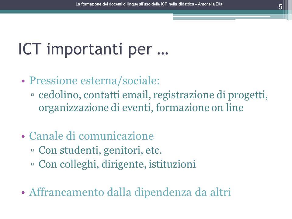 ICT importanti per … Pressione esterna/sociale: cedolino, contatti email, registrazione di progetti, organizzazione di eventi, formazione on line Cana
