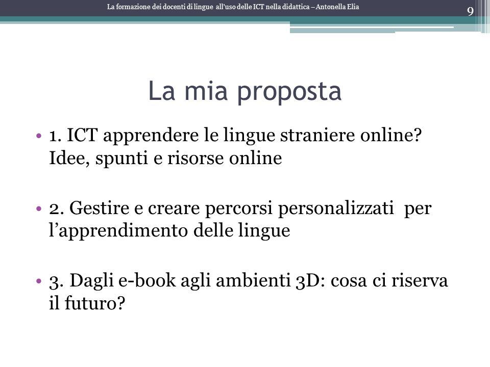 La mia proposta 1. ICT apprendere le lingue straniere online? Idee, spunti e risorse online 2. Gestire e creare percorsi personalizzati per lapprendim