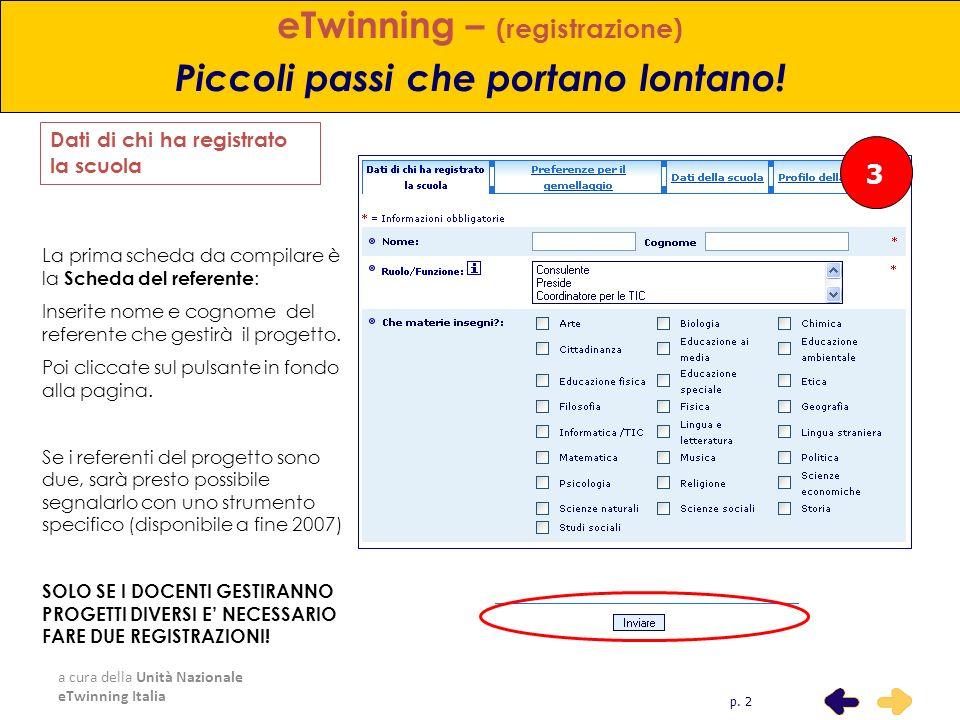 a cura della Unità Nazionale eTwinning Italia 3 eTwinning – (registrazione) Piccoli passi che portano lontano! La prima scheda da compilare è la Sched
