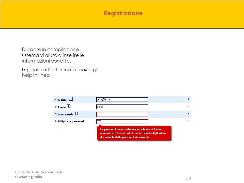 a cura della Unità Nazionale eTwinning Italia Durante la compilazione il sistema vi aiuta a inserire le informazioni corrette. Leggete attentamente i