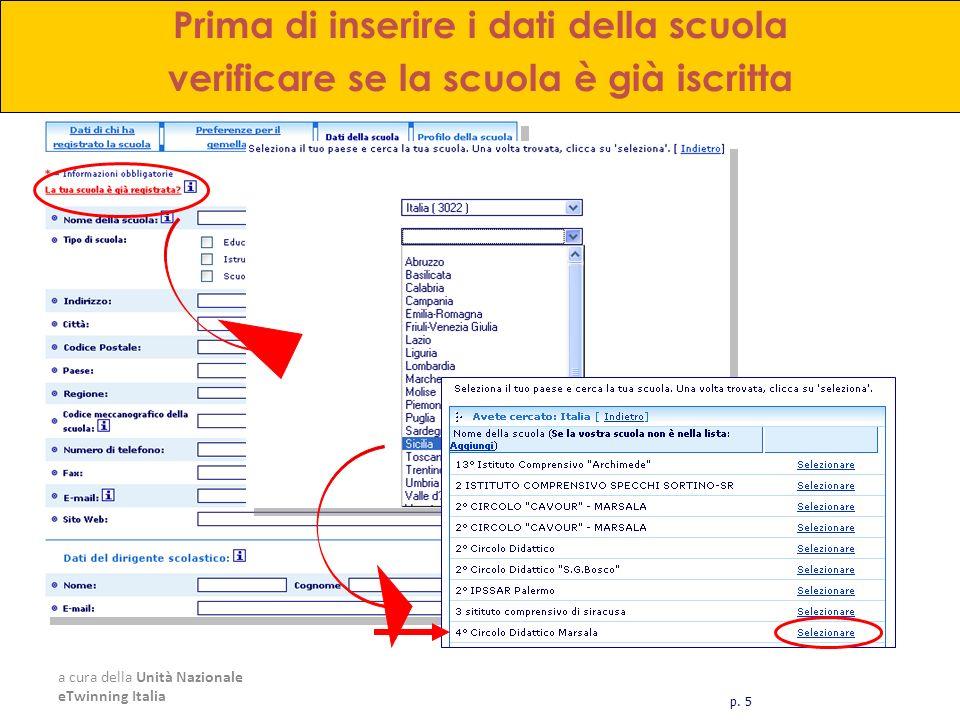 a cura della Unità Nazionale eTwinning Italia Prima di inserire i dati della scuola verificare se la scuola è già iscritta p. 5