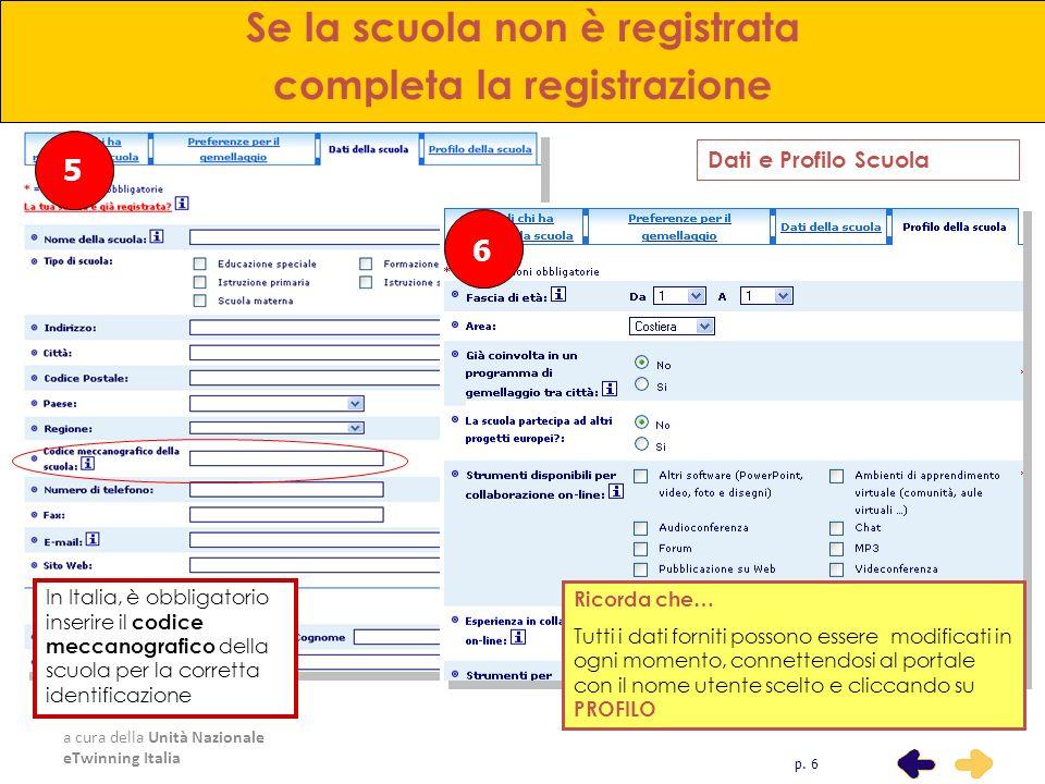a cura della Unità Nazionale eTwinning Italia 5 Se la scuola non è registrata completa la registrazione Dati e Profilo Scuola p. 6 In Italia, è obblig