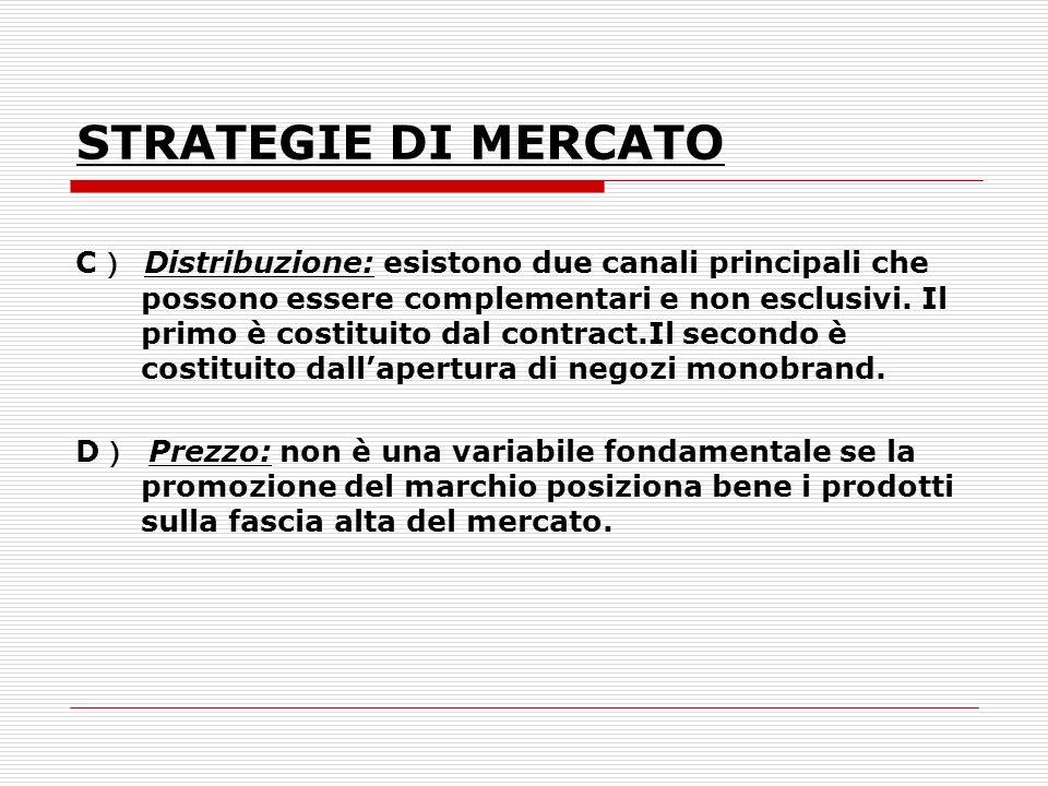 STRATEGIE DI MERCATO C Distribuzione: esistono due canali principali che possono essere complementari e non esclusivi. Il primo è costituito dal contr