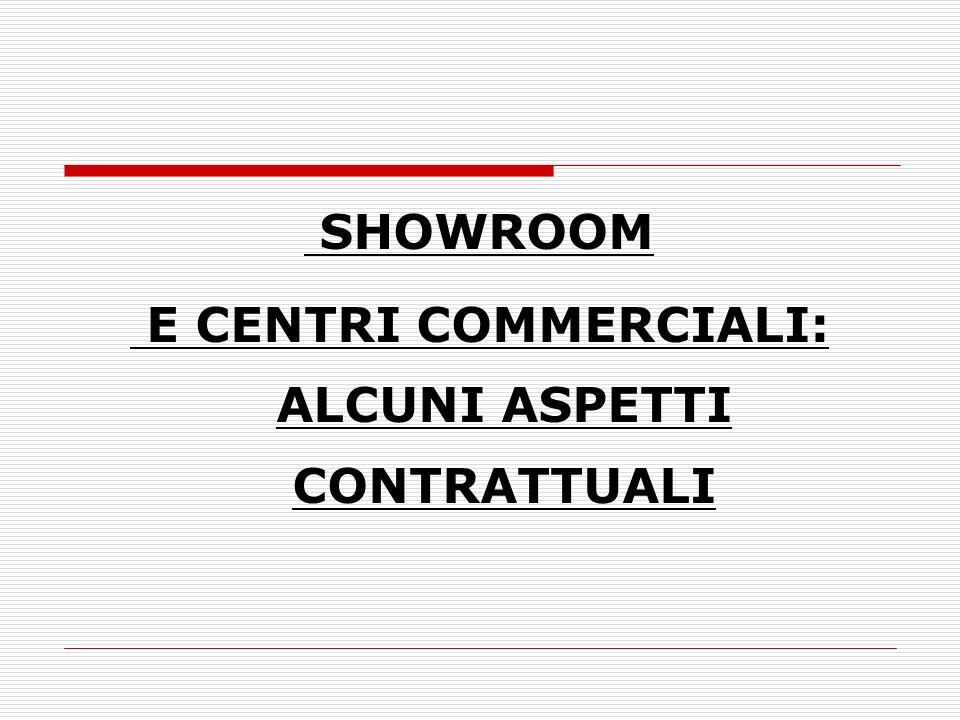 SHOWROOM E CENTRI COMMERCIALI: ALCUNI ASPETTI CONTRATTUALI