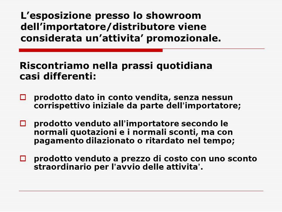 Lesposizione presso lo showroom dellimportatore/distributore viene considerata unattivita promozionale. Riscontriamo nella prassi quotidiana casi diff
