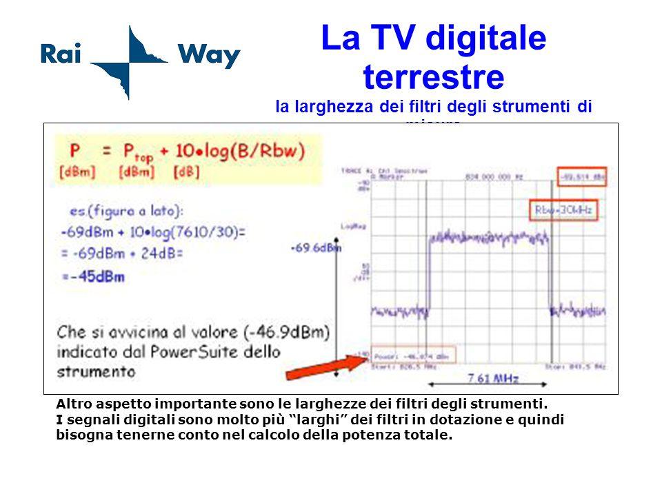 La TV digitale terrestre la larghezza dei filtri degli strumenti di misura Altro aspetto importante sono le larghezze dei filtri degli strumenti. I se