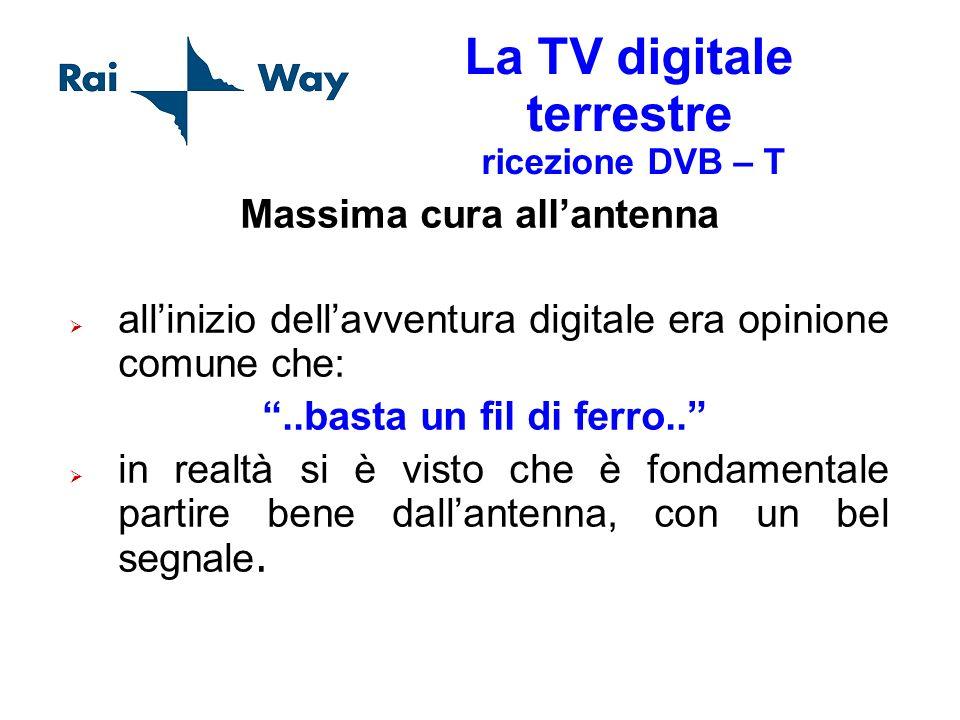 La TV digitale terrestre ricezione DVB – T Massima cura allantenna allinizio dellavventura digitale era opinione comune che:..basta un fil di ferro..