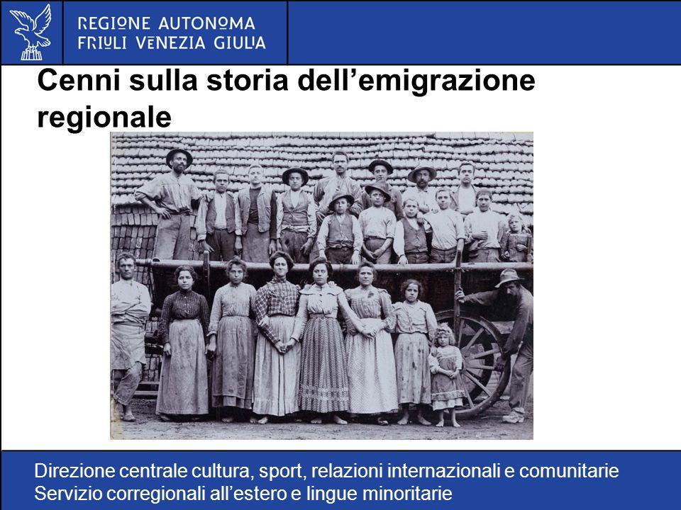 Direzione centrale cultura, sport, relazioni internazionali e comunitarie Servizio corregionali allestero e lingue minoritarie Cenni sulla storia dellemigrazione regionale