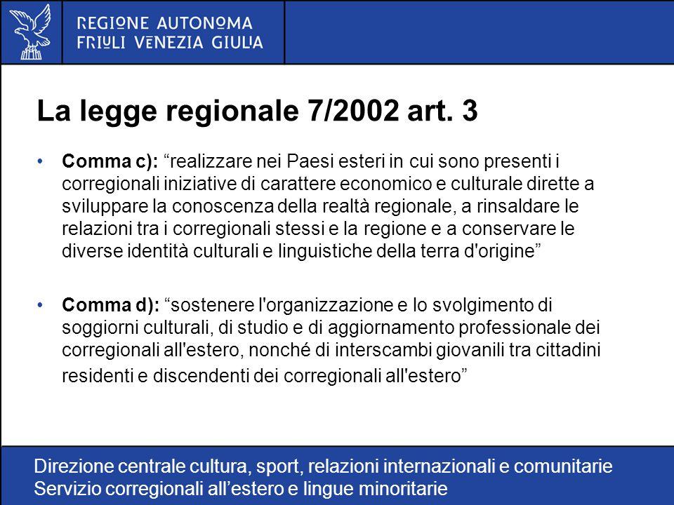 Direzione centrale cultura, sport, relazioni internazionali e comunitarie Servizio corregionali allestero e lingue minoritarie La legge regionale 7/2002 art.