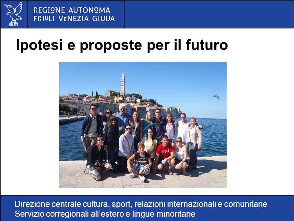 Direzione centrale cultura, sport, relazioni internazionali e comunitarie Servizio corregionali allestero e lingue minoritarie Ipotesi e proposte per il futuro