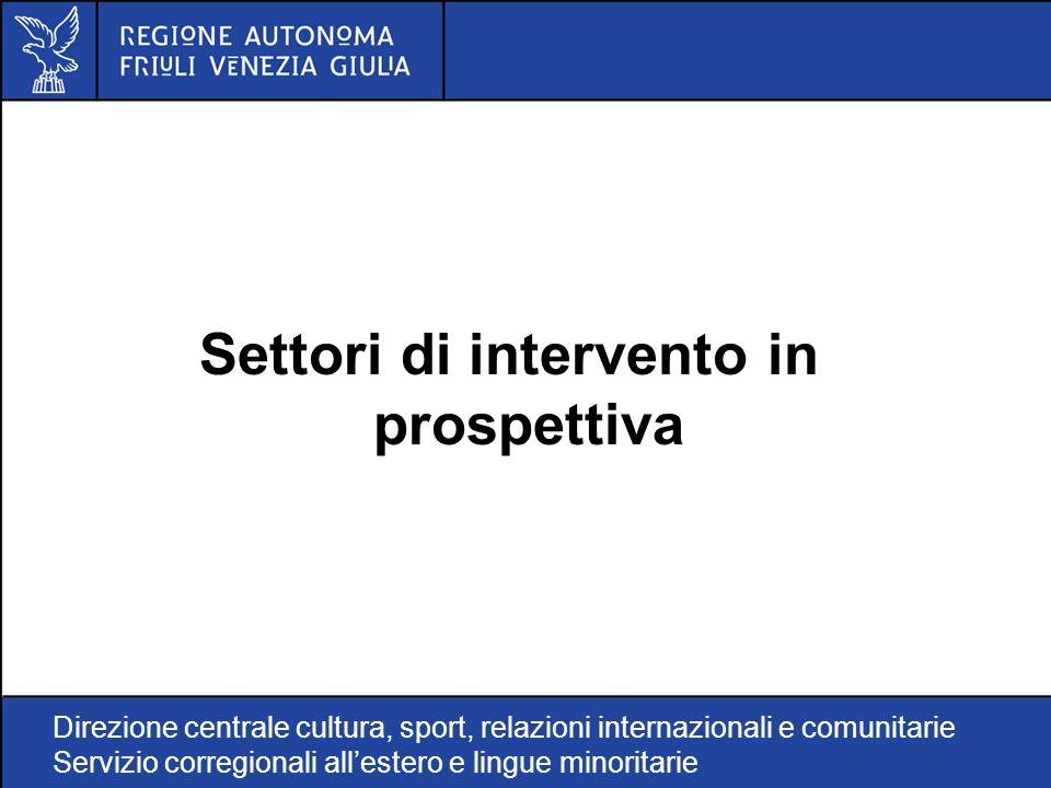 Direzione centrale cultura, sport, relazioni internazionali e comunitarie Servizio corregionali allestero e lingue minoritarie Settori di intervento in prospettiva