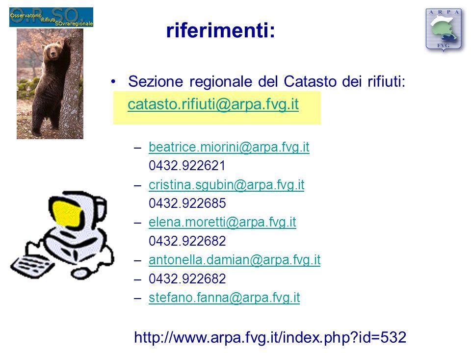 riferimenti: Sezione regionale del Catasto dei rifiuti: catasto.rifiuti@arpa.fvg.it –beatrice.miorini@arpa.fvg.itbeatrice.miorini@arpa.fvg.it 0432.922621 –cristina.sgubin@arpa.fvg.itcristina.sgubin@arpa.fvg.it 0432.922685 –elena.moretti@arpa.fvg.itelena.moretti@arpa.fvg.it 0432.922682 –antonella.damian@arpa.fvg.itantonella.damian@arpa.fvg.it –0432.922682 –stefano.fanna@arpa.fvg.itstefano.fanna@arpa.fvg.it http://www.arpa.fvg.it/index.php id=532