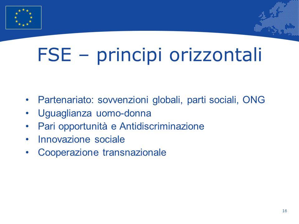 16 European Union Regional Policy – Employment, Social Affairs and Inclusion FSE – principi orizzontali Partenariato: sovvenzioni globali, parti socia