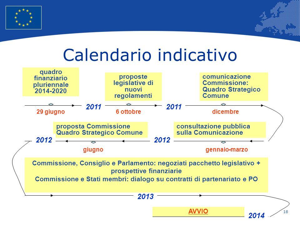 18 European Union Regional Policy – Employment, Social Affairs and Inclusion Calendario indicativo quadro finanziario pluriennale 2014-2020 29 giugno
