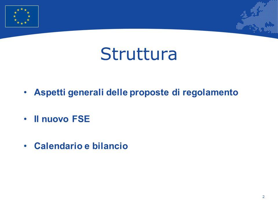 2 European Union Regional Policy – Employment, Social Affairs and Inclusion Struttura Aspetti generali delle proposte di regolamento Il nuovo FSE Cale