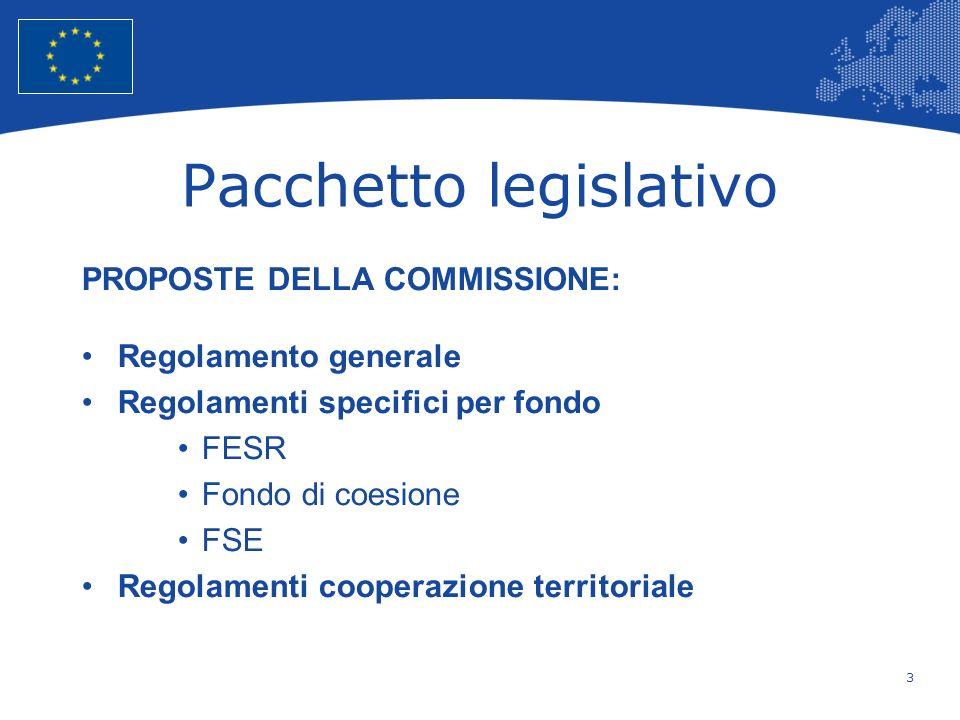 3 European Union Regional Policy – Employment, Social Affairs and Inclusion Pacchetto legislativo PROPOSTE DELLA COMMISSIONE: Regolamento generale Reg
