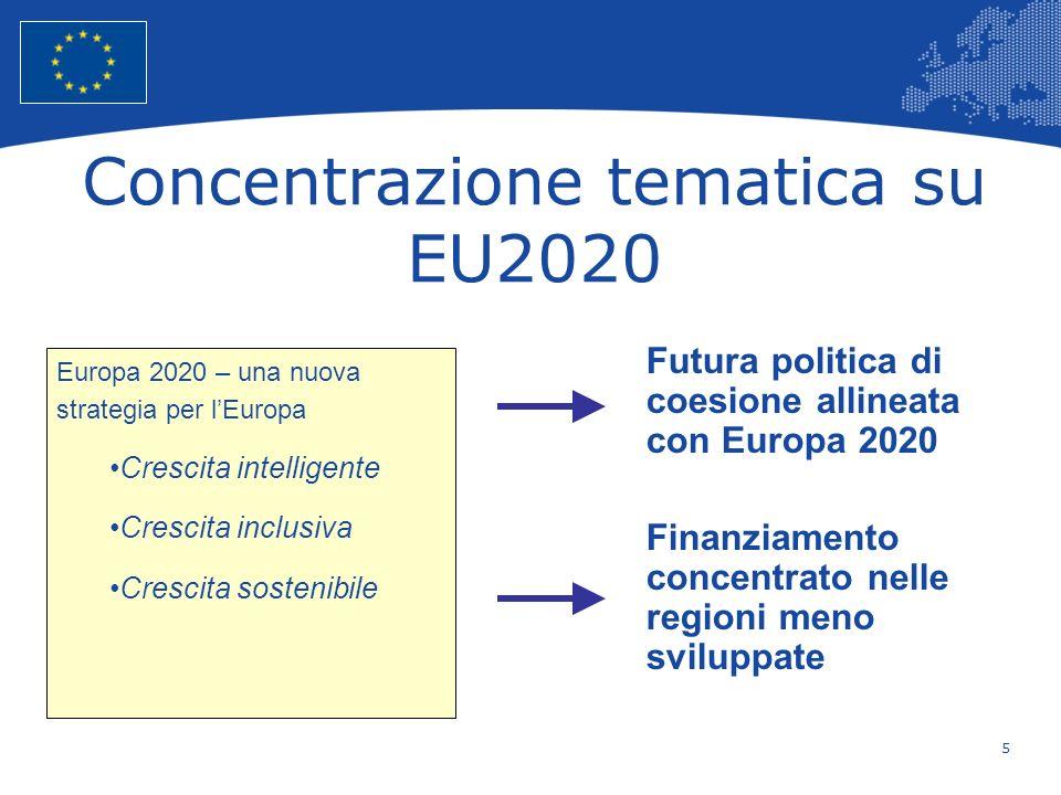 5 European Union Regional Policy – Employment, Social Affairs and Inclusion Concentrazione tematica su EU2020 Europa 2020 – una nuova strategia per lE