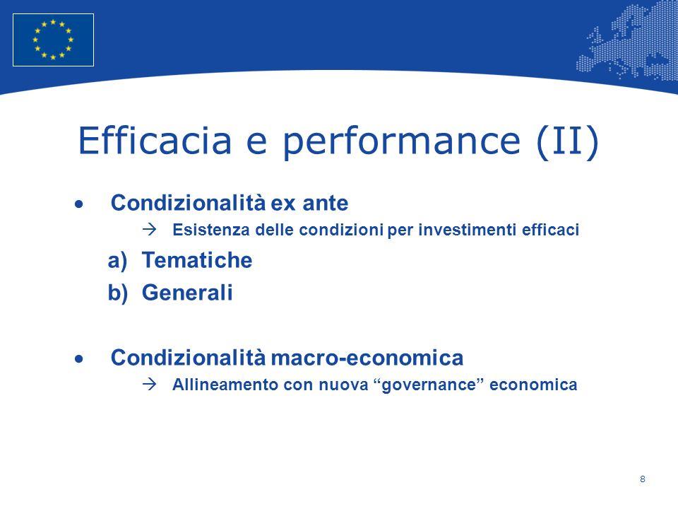 8 European Union Regional Policy – Employment, Social Affairs and Inclusion Efficacia e performance (II) Condizionalità ex ante Esistenza delle condiz