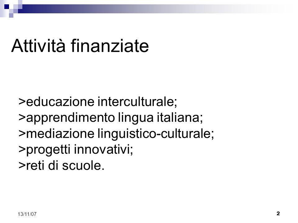 2 13/11/07 Attività finanziate >educazione interculturale; >apprendimento lingua italiana; >mediazione linguistico-culturale; >progetti innovativi; >reti di scuole.