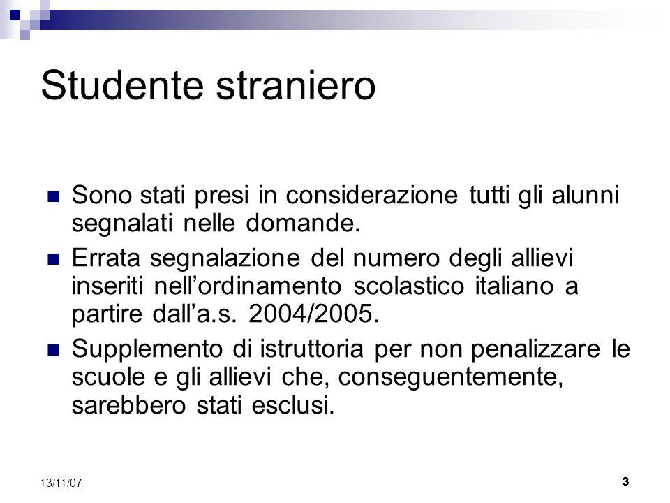 3 13/11/07 Studente straniero Sono stati presi in considerazione tutti gli alunni segnalati nelle domande.
