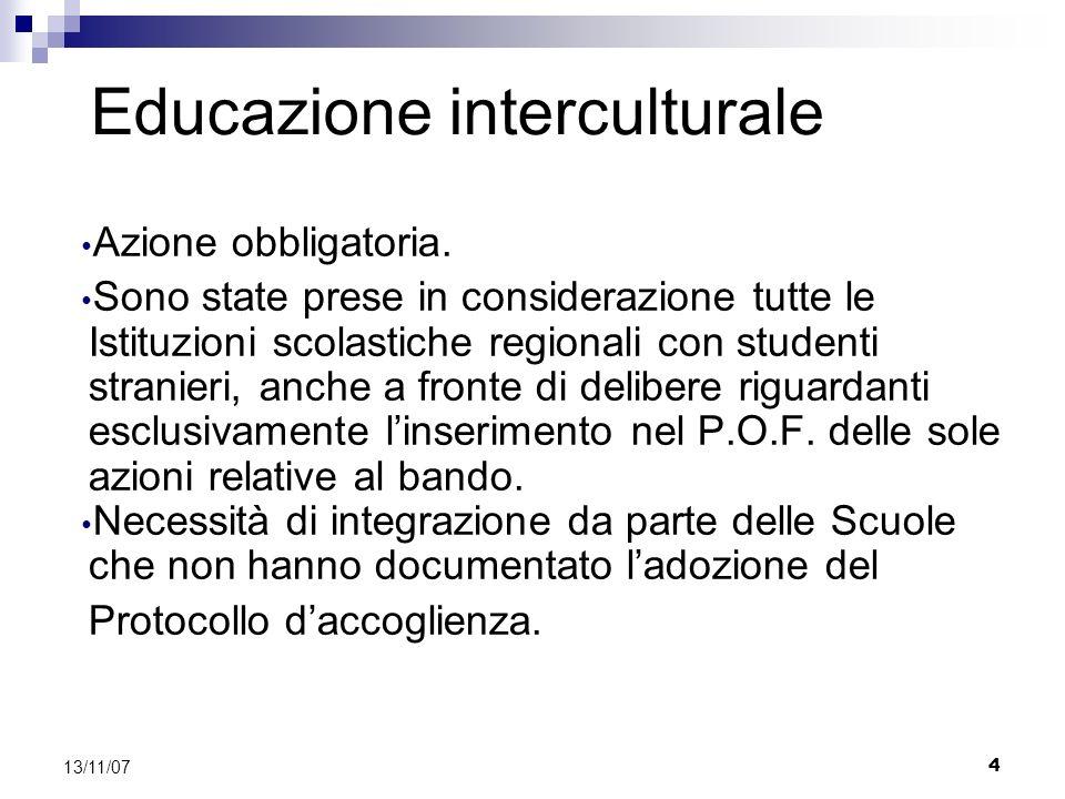 4 13/11/07 Educazione interculturale Azione obbligatoria.